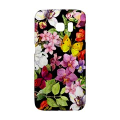 Beautiful,floral,hand painted, flowers,black,background,modern,trendy,girly,retro Galaxy S6 Edge