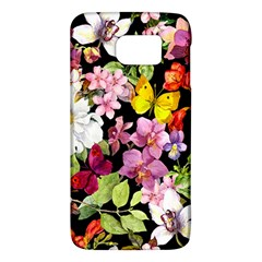 Beautiful,floral,hand painted, flowers,black,background,modern,trendy,girly,retro Galaxy S6