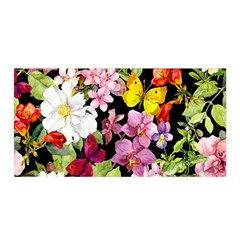 Beautiful,floral,hand painted, flowers,black,background,modern,trendy,girly,retro Satin Wrap