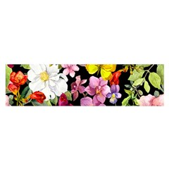 Beautiful,floral,hand painted, flowers,black,background,modern,trendy,girly,retro Satin Scarf (Oblong)