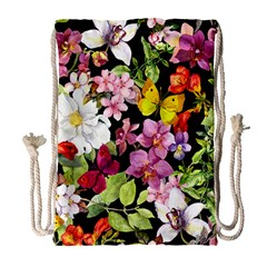 Beautiful,floral,hand painted, flowers,black,background,modern,trendy,girly,retro Drawstring Bag (Large)