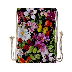 Beautiful,floral,hand painted, flowers,black,background,modern,trendy,girly,retro Drawstring Bag (Small)