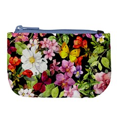 Beautiful,floral,hand painted, flowers,black,background,modern,trendy,girly,retro Large Coin Purse