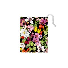 Beautiful,floral,hand painted, flowers,black,background,modern,trendy,girly,retro Drawstring Pouches (XS)
