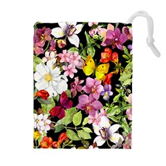 Beautiful,floral,hand painted, flowers,black,background,modern,trendy,girly,retro Drawstring Pouches (Extra Large)