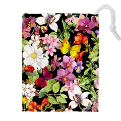 Beautiful,floral,hand painted, flowers,black,background,modern,trendy,girly,retro Drawstring Pouches (XXL)