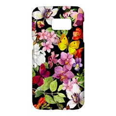 Beautiful,floral,hand painted, flowers,black,background,modern,trendy,girly,retro Samsung Galaxy S7 Hardshell Case