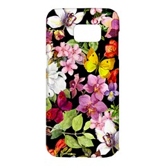 Beautiful,floral,hand painted, flowers,black,background,modern,trendy,girly,retro Samsung Galaxy S7 Edge Hardshell Case