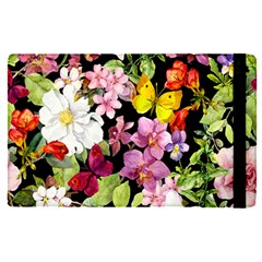 Beautiful,floral,hand painted, flowers,black,background,modern,trendy,girly,retro Apple iPad Pro 12.9   Flip Case