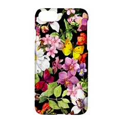 Beautiful,floral,hand painted, flowers,black,background,modern,trendy,girly,retro Apple iPhone 7 Hardshell Case
