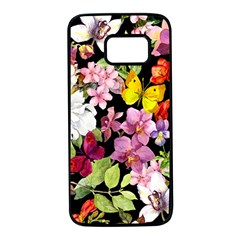 Beautiful,floral,hand painted, flowers,black,background,modern,trendy,girly,retro Samsung Galaxy S7 Black Seamless Case