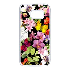 Beautiful,floral,hand painted, flowers,black,background,modern,trendy,girly,retro Samsung Galaxy S7 White Seamless Case