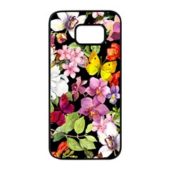 Beautiful,floral,hand painted, flowers,black,background,modern,trendy,girly,retro Samsung Galaxy S7 edge Black Seamless Case