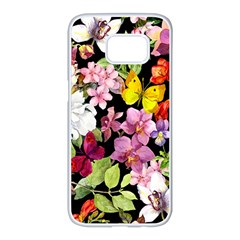Beautiful,floral,hand painted, flowers,black,background,modern,trendy,girly,retro Samsung Galaxy S7 edge White Seamless Case