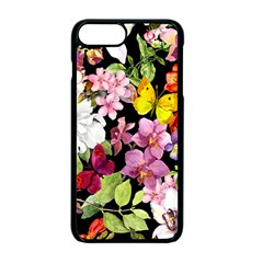 Beautiful,floral,hand painted, flowers,black,background,modern,trendy,girly,retro Apple iPhone 7 Plus Seamless Case (Black)