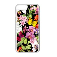 Beautiful,floral,hand painted, flowers,black,background,modern,trendy,girly,retro Apple iPhone 7 Plus Seamless Case (White)