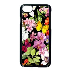 Beautiful,floral,hand painted, flowers,black,background,modern,trendy,girly,retro Apple iPhone 7 Seamless Case (Black)