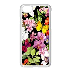 Beautiful,floral,hand painted, flowers,black,background,modern,trendy,girly,retro Apple iPhone 7 Seamless Case (White)