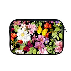 Beautiful,floral,hand painted, flowers,black,background,modern,trendy,girly,retro Apple MacBook Pro 13  Zipper Case
