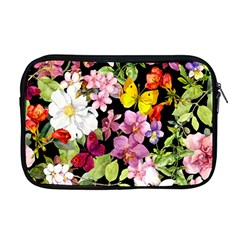 Beautiful,floral,hand painted, flowers,black,background,modern,trendy,girly,retro Apple MacBook Pro 17  Zipper Case