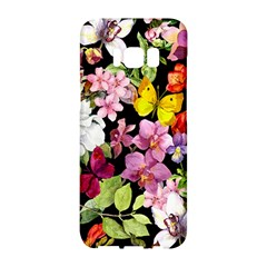Beautiful,floral,hand painted, flowers,black,background,modern,trendy,girly,retro Samsung Galaxy S8 Hardshell Case