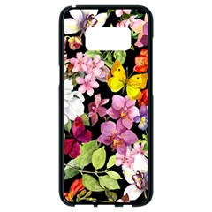 Beautiful,floral,hand painted, flowers,black,background,modern,trendy,girly,retro Samsung Galaxy S8 Black Seamless Case