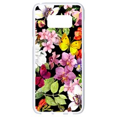 Beautiful,floral,hand painted, flowers,black,background,modern,trendy,girly,retro Samsung Galaxy S8 White Seamless Case