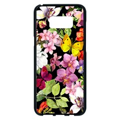 Beautiful,floral,hand painted, flowers,black,background,modern,trendy,girly,retro Samsung Galaxy S8 Plus Black Seamless Case