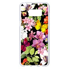 Beautiful,floral,hand painted, flowers,black,background,modern,trendy,girly,retro Samsung Galaxy S8 Plus White Seamless Case