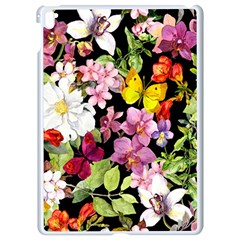 Beautiful,floral,hand painted, flowers,black,background,modern,trendy,girly,retro Apple iPad Pro 9.7   White Seamless Case