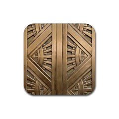 Art Deco Gold Door Rubber Square Coaster (4 Pack)  by 8fugoso