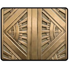 Art Deco Gold Door Fleece Blanket (medium)  by 8fugoso