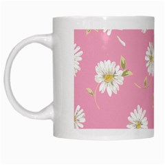 Pink Flowers White Mugs by 8fugoso