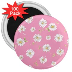 Pink Flowers 3  Magnets (100 Pack) by 8fugoso