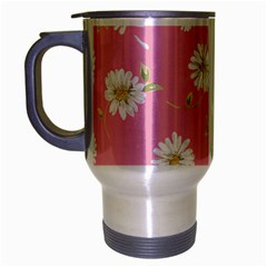 Pink Flowers Travel Mug (silver Gray) by 8fugoso