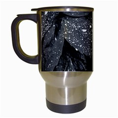 Black And White Leaves Photo Travel Mugs (white) by dflcprintsclothing