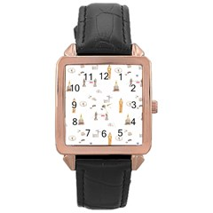 Graphics Tower City Town Rose Gold Leather Watch