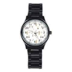 Graphics Tower City Town Stainless Steel Round Watch