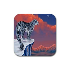 Lion Tigel Chetah Animals Snow Moon Blue Sky Rubber Square Coaster (4 Pack)  by Alisyart