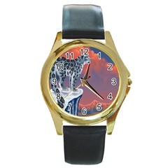 Lion Tigel Chetah Animals Snow Moon Blue Sky Round Gold Metal Watch