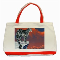 Lion Tigel Chetah Animals Snow Moon Blue Sky Classic Tote Bag (red) by Alisyart