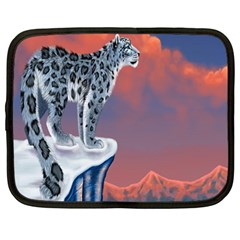 Lion Tigel Chetah Animals Snow Moon Blue Sky Netbook Case (large) by Alisyart
