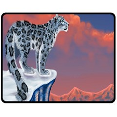 Lion Tigel Chetah Animals Snow Moon Blue Sky Fleece Blanket (medium)
