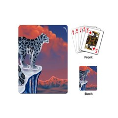 Lion Tigel Chetah Animals Snow Moon Blue Sky Playing Cards (mini)