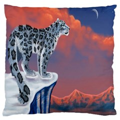 Lion Tigel Chetah Animals Snow Moon Blue Sky Standard Flano Cushion Case (two Sides)