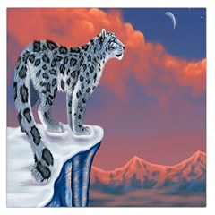 Lion Tigel Chetah Animals Snow Moon Blue Sky Large Satin Scarf (square) by Alisyart