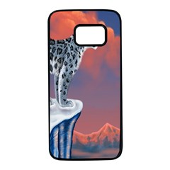 Lion Tigel Chetah Animals Snow Moon Blue Sky Samsung Galaxy S7 Black Seamless Case by Alisyart