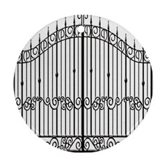 Inspirative Iron Gate Fence Round Ornament (two Sides)