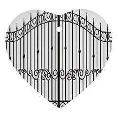Inspirative Iron Gate Fence Heart Ornament (two Sides) by Alisyart