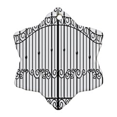 Inspirative Iron Gate Fence Snowflake Ornament (two Sides) by Alisyart